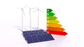 Solar panels and wind generators next to energy efficiency graph Royalty Free Stock Photos