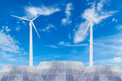 Solar panels and wind turbine Royalty Free Stock Photography