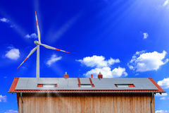 Solar panels and wind turbine Royalty Free Stock Photo