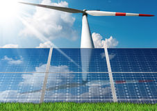 Solar Panels and a Wind Turbine Royalty Free Stock Photo