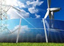 Solar Panels - Wind Turbine - Power Line Royalty Free Stock Images