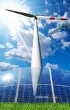 Solar Panels - Wind Turbine - Power Line Royalty Free Stock Image