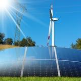 Solar Panels - Wind Turbine - Power Line Stock Image