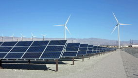 Solar Panels and Wind Turbine Power stock video