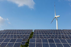 Solar panels and wind turbine for renewable electricity production Stock Image