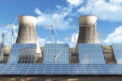 Solar panels Wind Turbines Royalty Free Stock Photo