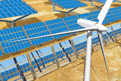Solar Panels and wind turbines Stock Image