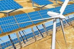 Solar Panels and wind turbines Stock Image