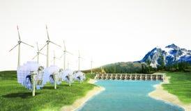 solar panels with wind turbines against mountanis landscape agai stock illustration