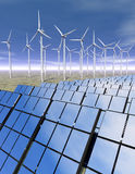 Solar panels and wind turbines in the desert. 3D rendered solar panels and wind turbines in a desrt environment Royalty Free Stock Photography