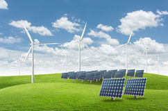Solar panels and wind turbines. Solar energy panels with wind turbine Royalty Free Stock Photography