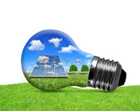 Solar panels and wind turbines in light bulb Stock Photos