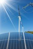 Solar Panels - Wind Turbines - Power Lines Royalty Free Stock Photos