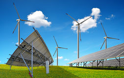 Solar panels with wind turbines. Power plant using renewable energy Stock Images