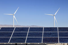 Solar Panels and Wind Turbines Power Royalty Free Stock Photography