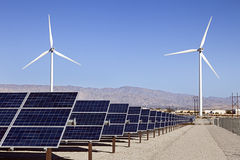Solar Panels and Wind Turbines Power Stock Photo