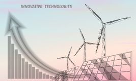 Solar panels windmills turbine generating electricity. Green ecology saving environment. Renewable power low poly. Polygonal geonetric abstract gray white sky stock illustration