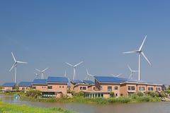 Solar Panels and windturbines Stock Photos