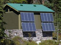 Solar Pannelled Building. Toilet Block powered by Solar Energy Stock Images
