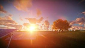Solar pannels, timelapse sunrise, aerial view