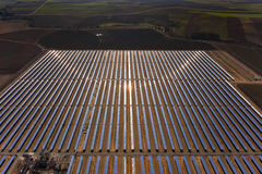 Solar parabolic power plant. Aerial view of solar parabolic power plant Royalty Free Stock Images