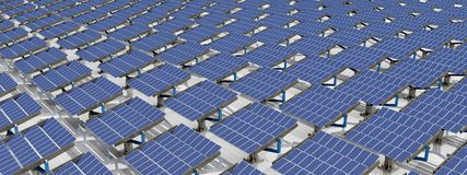 Solar park. Computer generated 3D illustration with a solar park Royalty Free Stock Images