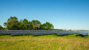 Solar Park Green Energy Panels. On grass, some trees in background. Horizontal Banner Version Stock Photography