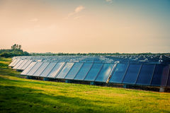 Solar park on a green field Royalty Free Stock Photos
