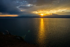 Solar path in Lake Baikal Royalty Free Stock Photography