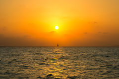 Solar a path in the Mediterranean Sea with silhouette Royalty Free Stock Image