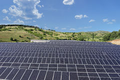 Solar photovoltaic cell panels on field, Macedonia Royalty Free Stock Image