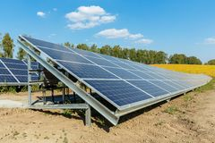 Solar photovoltaic modules using renewable solar energy. Alternative electricity concept stock photography