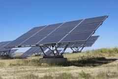 Solar photovoltaics panels field Stock Photos