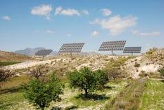 Solar plant. Big solar panels in solar park Stock Photos