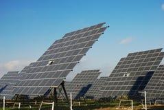 Solar plant. Big solar panels in solar park Royalty Free Stock Photo