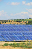 Solar plant on field Stock Photos