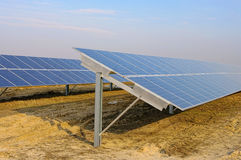 Solar plant on field Stock Photo