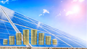 Solar plant. A solar panels photovoltaic, money Royalty Free Stock Photos