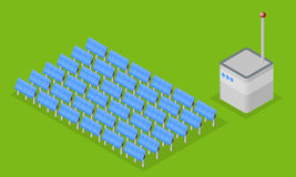 Solar plant. Set of solar panel and control building. Isometric vector illustration Royalty Free Stock Photography