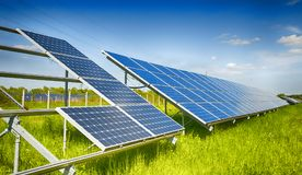 Solar plant. Solar power plant in construction royalty free stock images