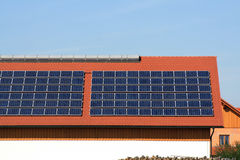 Solar plants on the roof Stock Photo