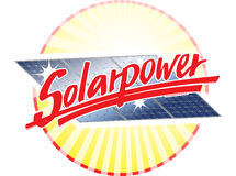 Solar power. Illustration of solar panels and sun rays with the slogan Solarpower in front Stock Images