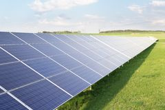 Solar power. Power plant using renewable solar energy royalty free stock photography