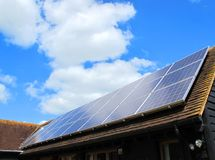 Solar Power. A roof of a solar powered house stock image