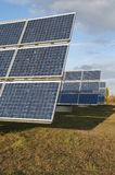 Solar power #2. Field with solar panels on a cloudy day royalty free stock photos