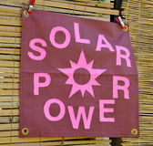 Solar Power Banner Sign. Large Solar Power Banner Sign Stock Photo