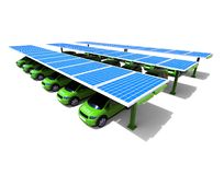 Solar power car station concept Royalty Free Stock Photos