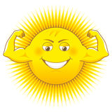 Solar power. Cartooned sun as a source of power Royalty Free Stock Photo