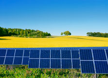 Solar power cells with a rapeseed field  as a backgrop Royalty Free Stock Image