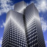 Solar power city. City buildings made of solar panels with blue sky in the background Stock Image